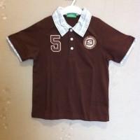 Baju Kaos Tshirt Atasan Bayi Anak Garfiled Coklat Tua Berkerah Original Murah