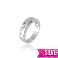 Cincin COUPLE Silver 925 - Berlapis Emas Putih (CCOF154)
