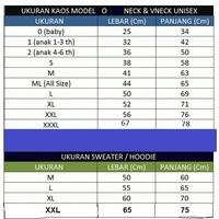 Katalog ukuran kaos polos
