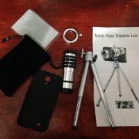 Lens Tele Camera Samsung S4 - 12 x zoom - Stand Tripod - Lensa Kamera Berdiri