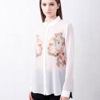 (Baju Impor) Top / Bluse / Kemeja Putih Lengan Panjang # ZARA