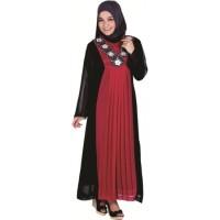 Baju Gamis Raindoz RWD 005 Merah Kombinasi hitam