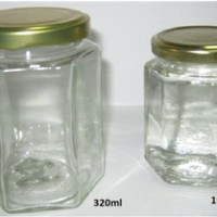 Botol Jar Toples Selai Kaca : 320ml Segienam (Hexagon), Tutup Seng / Glass Bottle : 320ml  6-side (Hexagon), Metal Cover