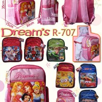 Tas Sekolah Ransel Sofia, Minion, Barbie, Ben 10, Cars, Thomas, Ultraman DREAM R-707