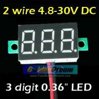 Jual Voltmeter Digital Mini Tanpa Frame 4.8-30V DC Dua Kabel Akurasi Sampai 0.02V Pengukur Tegangan Tanpa Bingkai 3 Digit LED 0.36in Murah