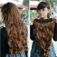 hair clip extension rambut palsu big single layer curly keriting 5 clip