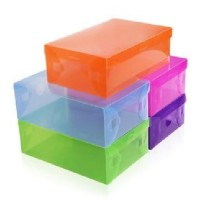 Transparant Shoes Box Tas Kotak Sepatu Warna Warni Handle Pegangan Olahraga High heels kantor office Organizer