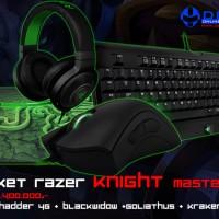 Paket Razer Knight Master (Mouse Deathadder 2013 + Keyboard BW T2 + Mousepad Goliathus Med Control + Headset Kraken Pro White)