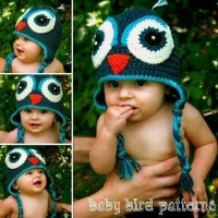 Topi bayi blue owl import rajut good quality