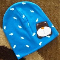 BH-BW Cute Bear Animal Cotton Head - Topi Bayi Biru Putih