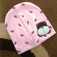 BH-PC Cute Bear Animal Cotton Head - Topi Bayi Pink Choco