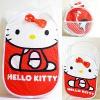 LDB02 - Laundry Bag / Keranjang Baju Hello Kitty Pita Emboss Merah