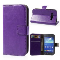 Crazy Horse Texture Leather Case Wallet Stand For Samsung Galaxy Ace 3 S7270 S7272 S7275 - Purple