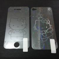 anti gores iphone motif 3D hello kitty Front Back Screen Protector Film Guard for iPhone 4 / 5
