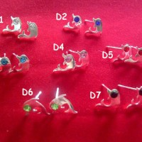 ANTING PERAK DOLPHIN VARIASI CRYSTAL - Anting Perak Lumba-Lumba Permata
