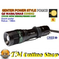Senter Police Swat 1866 Power Style Led Zoom Fokus Q5 99000 Watt + Baterai Recharge Ultrafire 18650 + Charger Desktop + Lalin