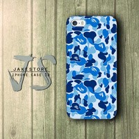 Bape Logo Bathing Ape Camo Blue Clothing iPhone Case Doreng tentara Army , Casing HP, Casing iPhone , tersedia Type 4 4s 5 5s 5c