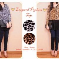 ready stock - Fef Leopard peplum top ecer COKLAT@70 ket di pic fit to L kecil