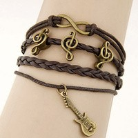 Gelang Korea Multi Charm Music Brown KB35416