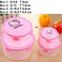 Kotak kue toples lock Hello Kitty bulat isi 4