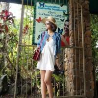 (Baju Impor) BJ7F2BFB1 Low CUt Baby Doll Top - Baju Pantai - Atasan Sabrina # Putih