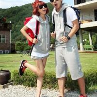 CC28909 - Couple Chic Cotton Hoodie Gray Korean Fashion Import SALE