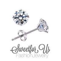 Sterling silver 925 Zircon Stud Earrings Fashion Jewelry Women Anti-allergic Earring / Anting Wanita Perak CZ