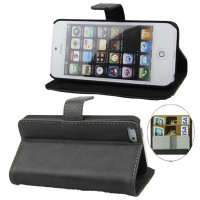 iPhone 5/5s, Genuine Leather Case with Credit Card Slots & Holder - Black
