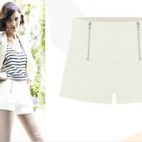 Zipper Shorts (WHITE size L,M)-6443