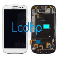 LCD Samsung Galaxy S3 SIII GT-i9300 GT i9300 + Frame White Putih