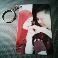 Gantungan Kunci Foto Couple untuk Tas Pintu Motor dan Souvenir Bahan PVC (Seperti kartu kredit/ATM)