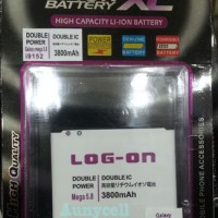 Baterai Batre Battery Double Dobel Power Samsung Galaxy Mega 5.8 58 Merk Log-On Log On 3800Mah