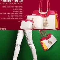 tas mirip chanel channel pink kombinasi putih white kulit wanita 3in1
