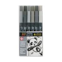 Sakura Koi Coloring Brush Pen - 6 Grey Color Set
