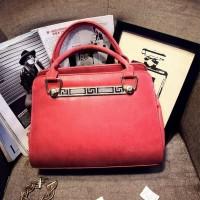 tas jinjing handbag kantor wanita polos merah rose red tali panjang pu