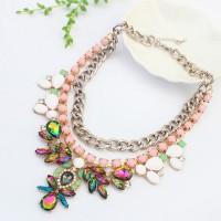 Kalung Statement Necklace Pink Rainbow