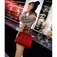 tas tangan handbag hand bag wanita merah kulit pu leather red import