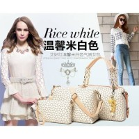 tas tangan wanita putih rice white jalan pergi mall jinjing impor 4in1