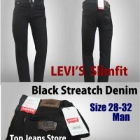 Celana Jeans Levis  Black Slimfit  Streatch Denim size 28-32 man