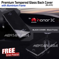 Premium Tempered Glass Back Cover (BLACK) HUAWEI Honor 3C ( + FREE SP)