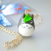 aksesoris kalung totoro necklace anime import handmade clay