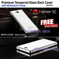 Premium Tempered Glass Back Cover (WHITE) HUAWEI Honor 3C ( + FREE SP)