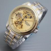 Rolex Skeleton Geneve Rantai Combi Gold