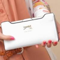 dompet pita putih wanita import cewek korea bagus cantik kulit leather