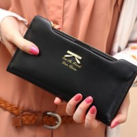 dompet hitam pita ribbon kulit leather wanita import pergi mall korea