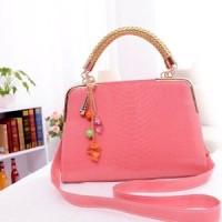 tas fashion korea import pink cantik glossy kulit tali panjang sling