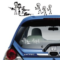 Tokomonster Decal Happy Family Attack Zombie Sticker Belakang Mobil