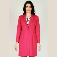 Luaran Blazer Panjang Model Coat Warna Fuschia