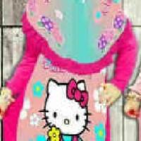 gamis 2in1 Hello Kitty Pink Tua Rampel Susun belakang little pineapple