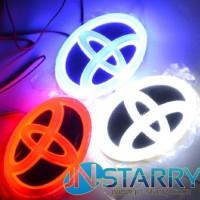 CAR emblem LED Logo mobil chrome nyala 4 dimensi TOYOTA